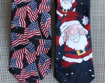 2 Themed Vintage Ties, Patriotic, USA Flag, Christmas, Santa Claus with Candy Canes, Hallmark, Umo Lorenzo Italy
