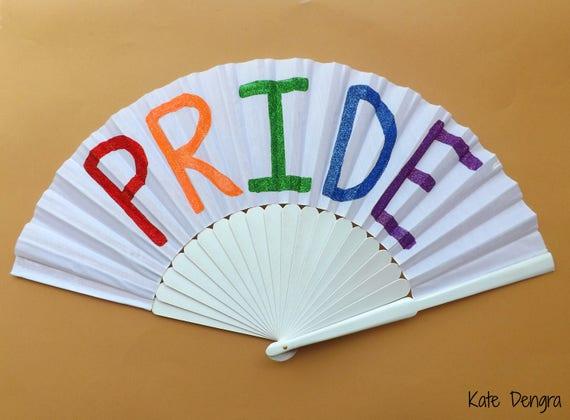 PRIDE Rainbow Glitter Hand Fan XL