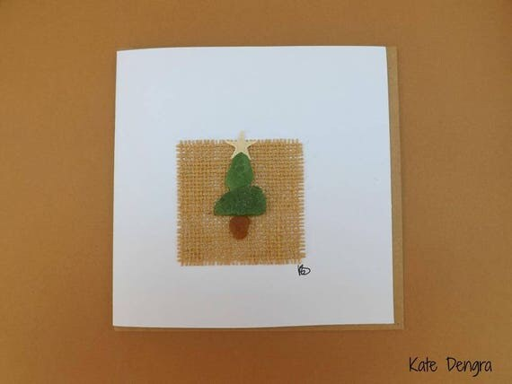 Christmas Tree with Starfish Star Greetings Card Unique OOAK Pebble Art Beach Finds Beachcombing Ocean Inspired Sea Glass Pottery Driftwood