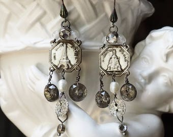 We'll Always Have Paris -Chandelier Earrings- Vintage Assemblage Souvenir- Sterling Silver pearls, rhinestone, glass buttons- One of a Kind