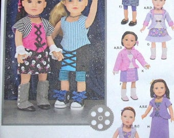 "Craft Sewing Pattern Simplicity 1087 18"" Doll Boho Separates, Clothes Wardrobe, Top Skirt Leggings Hat Fits AG Type Girl Uncut Factory Folds"