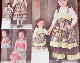 """Sarah Rose Sewing Pattern Simplicity 1793 Girls Dress, Pants, Shorts and 18"""" Doll Clothes Size 3 4 5 6 7 8 Chest 22 23 24 25 26 27 Uncut FF"""