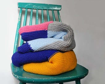 Colourful knitted blankets / teal, blue, yellow, pink, grey, knitted afghan, handmade blanket, crib lap blanket, knitted squares
