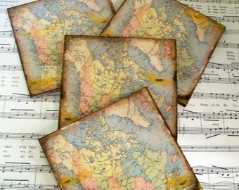 Canada Historical Map Coasters, Canadian Coasters, Circa 1899 Stained Antiqued Map, Set of 4, Decoupage Wood Coasters