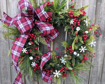 Christmas Wreath Snowflake Wreath Rustic Plaid Wreath Front Door Christmas and Winter Wreath, Woodland Christmas Wreath, Natural Christmas