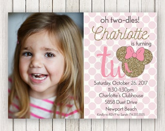 Minnie Mouse Oh Twodles Birthday Invitations | Polka Dots Girls Party Invitation | Gold and Pink | Oh Toodles | Picture | Photo | 2nd Second