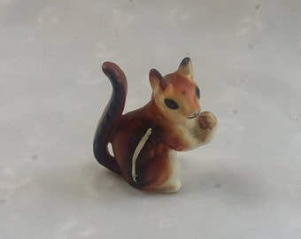 Miniature Ceramic Squirrel Figurine