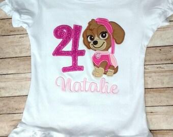 Skye birthday shirt- Puppy shirt, Pink birthday, baby girl birthday, toddler birthday, birthday shirt