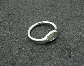 light water green tourmaline silver ring