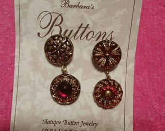 Glass BUTTON EARRINGS Xmas Eye Candy MisMatched Unusual Button Jewels Won't Increase Your waistline Barbaras Buttons