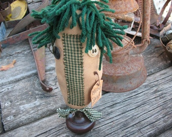 "RAGGEDY ""KNOB HEAD""~ Make-Do~ Vintage~ Farmhouse~ Primitive~ Green Homespun~ Primitive Art Doll~ Handmade Gift~ Up cycled~ Door Knob~ Funky~"