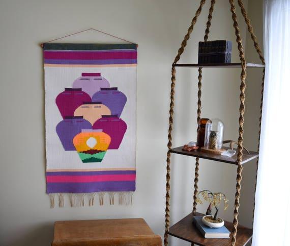 Large Vintage Woven Wall Hanging / Tapestry / Fiber Art ~ Boho, Southwestern, Natural Home