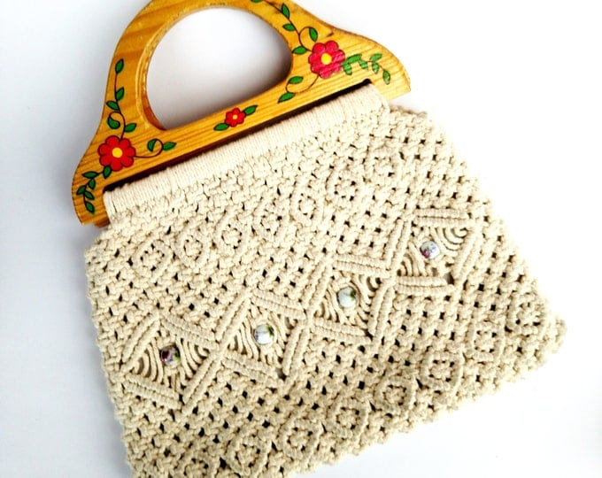 Vintage 1970's Macrame Handbag with Floral Painted Wooden Handles