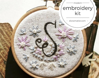 embroidery kit // Monogram Initial Letter - monogram embroidery kit