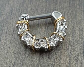 14g Clear Crystal Daith Hoop Rook Earring Clicker Septum Clicker Ring