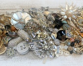 """Costume Jewelry Lot/Wearable and Broken/2"""" Silver Spoons/Rhinestones/Crafts/Repairs/Vintage/Antique/Mod/Necklaces/Brooches/Earrings/Buttons"""