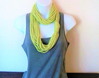 Chain Scarf - Infinity Scarf - Necklace Scarf - Circle Scarf - Light Green Scarf - Pistachio