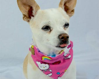Pink Hello Kitty Reversible Dog Bandana, Slip-on Collar Bandana, Reversible Dog Scarf