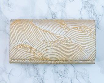 Metallic Fold Over Clutch, Gold Vintage Evening Bag, Japanese Kimono Purse, Hokusai Wave Womens Wallet, Metallic Evening Bags For Wedding