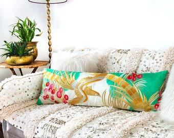 Japanese Kimono Bolster Pillow, Long Silk Cushion, Gold Phoenix, Teal Turquoise Vintage Kimono Upcycled Lumbar Pillow, Velvet Back, Eco gift