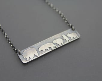 Custom Mama Bear Necklace, Bear Jewelry, Mamma Bear, Sterling Necklace, Silver Bear Necklace, Silver Bar Necklace, Woodland Jewelry