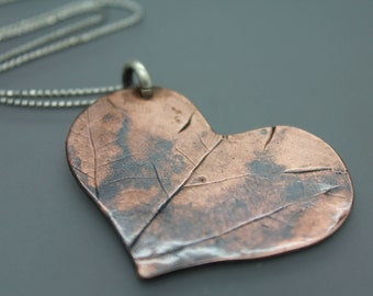 Copper Heart, Heart Necklace, Heart Pendant, Heart And Leaf, NC Leaves, Leaf Jewelry, Leaf Imprint, Fall Necklace, Autumn