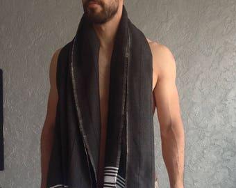 Premium Turkish towel, peshtemal, beach, pool, SPA, bath towel, hammam, Ecofriendy Gift, Natural Soft Cotton, for him, Men, father, Black