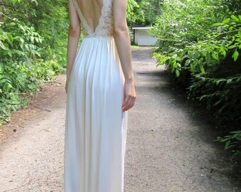 SUMMER SALE! romance in the air - ivory organic bamboo with vintage floral lace bohemian chic hippie romantic wedding maxi dress small