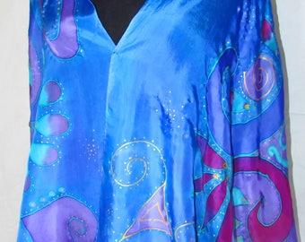 blue purple silk shaw, goddess art, goddess wear, hand painted silk shawl, prayer shawl, reiki, yoga, gifts for her, spiritual, metaphysical