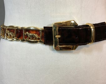 "Vintage Gold and Brown Leopard Belt with Brown Patent Leather Trim and Gold Metal Leopards Buckle 2"" Wide, Belt 1.25"" Wide 37.5"" Long Medium"