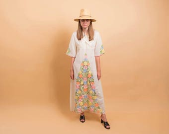 60s Mexican Embroidered Floral Dress / Boho Dress / Bell Sleeve Dress / Floral Hippie Dress Δ size: S/M