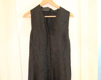1990 black sleeveless buttons skater mini dress