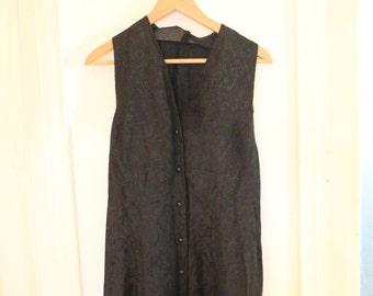 1990 black sleeveless buttons skater mini dress