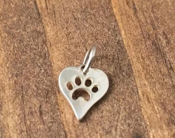Solid Sterling Silver Paw Print in Heart Charm, Dog or Cat Paw Pendant, 925 Sterling Silver Findings, Earring Jewelry, Necklace Findings