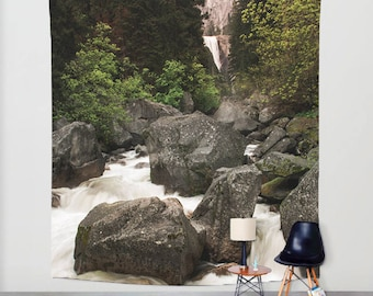 Yosemite California Waterfall Tapestry, Nature Wall Tapestry, River Tapestry, Mountain Decor, Adventure, Forest Tapestry, Sierra Nevada