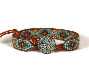 Bead Loom Bracelet Bead Loom Bracelet Fern Triskelion Blue Turquoise Bracelet Aerieannas Wristcraft Boho Bracelet Bohemian Jewelry