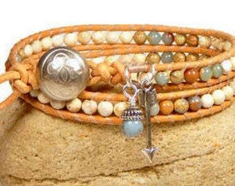 Leather Wrap Bracelet Gemstone Aqua Terra Bracelet Two Row Bracelet Arrow Bracelet Boho BB45