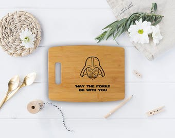 Star Wars cutting board - Bamboo May the forks be with you - Darth Vader