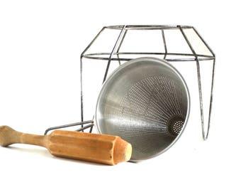 Kitchen Craft Ricer Metal Food Strainer, Wood Pestle, Stand - Aluminum Colanders Strainers Vintage Canning Supplies