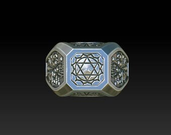 wedding ring signet wedding ring  heart chakra tree of life  RS33