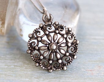 Gothic Flower Necklace - Sterling Silver Medallion and Chain