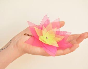 Pink green organza lotus flower barrette