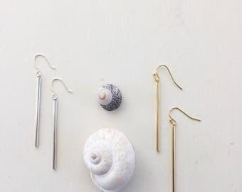 Bar Drop Earrings    Gold Bar Earrings, Silver Bar Earrings, Long Earrings, Simple Earrings, Lightweight Earrings, Dainty Earrings