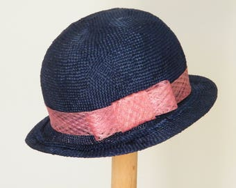 blue summer hat / elegant straw hat / navy event hat / summer cloche hat made in Israel
