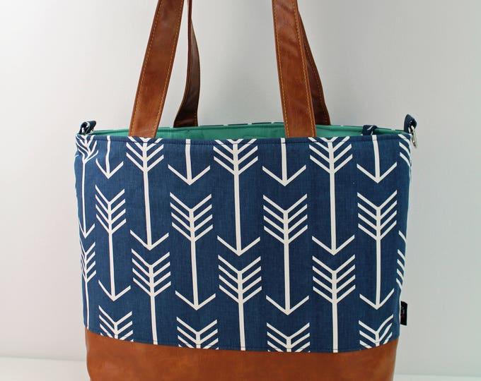 Extra Large Lulu Tote with Blue Arrows and PU Leather -READY to SHIP