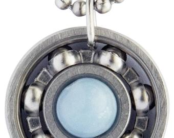 Angelite Roller Derby Skate Bearing Pendant Necklace