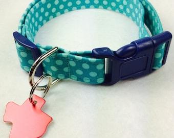 Teal Polkas  Dog Collar - Adjustable