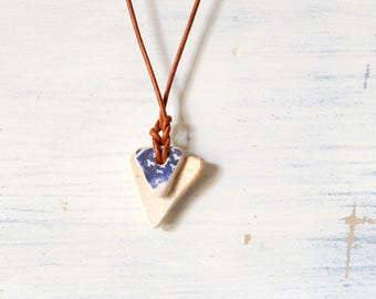 Sea Pottery & Leather Necklace - Sea Pottery Beach Pottery Ceramic Necklace - Handmade Jewelry