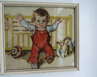 1930s Nursery Wall Art by Maud Tousey Fangel Babys First Steps Original Framed Baby Picture Artist Signed Vintage Art Work  Collectible