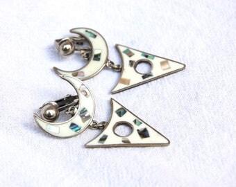 White Mexican Earrings Vintage Long Dangles Alpaca Resin Abalone Statement Dangle Modern Boho Clip Ons